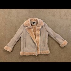 Faux Fur chamois leather mixed coat